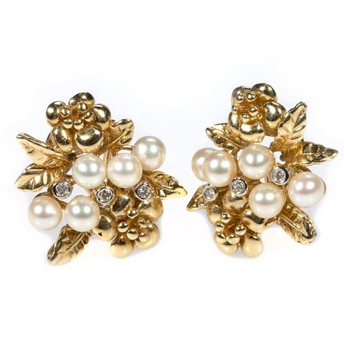 Pair of cultured pearl, diamond and 14k gold earrings