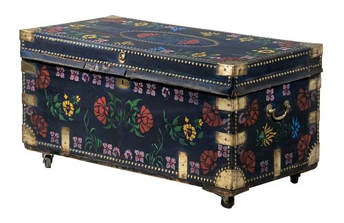 CHINESE LEATHER CLAD CAMPHORWOOD TRUNK