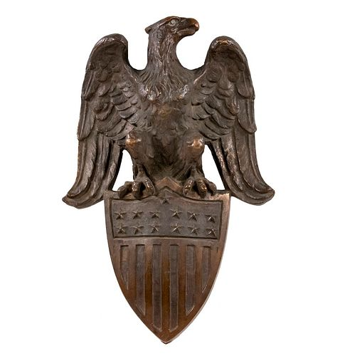SOLID CAST BRONZE US EAGLE WITH SHIELD