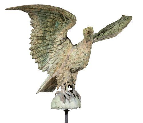 19TH C. GILT EAGLE WEATHERVANE, ATTRIBUTED TO J.W. FISKE & CO. NYC