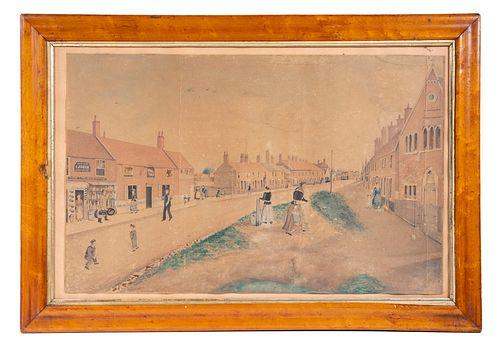 18TH C. SCHOOLGIRL WATERCOLOR OF A TOWN STREET