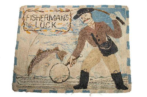 """FISHERMAN'S LUCK"" HOOKED RUG"