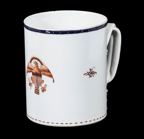 CHINESE EXPORT PORCELAIN TANKARD WITH AMERICAN EAGLE