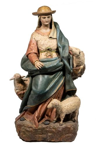 EARLY 17TH C. FRENCH BRETONESE POLYCHROMED WOOD STATUE