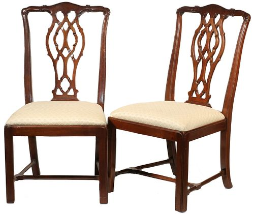 PR OF TRANSITIONAL CHIPPENDALE HEPPLEWHITE SIDE CHAIRS
