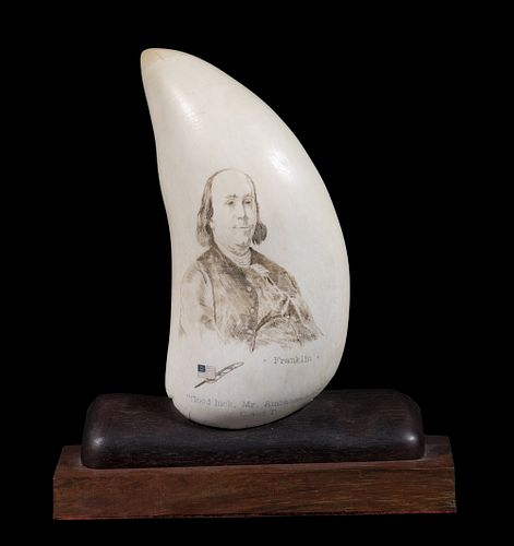 AMERICAN PATRIOTIC SCRIMSHAWN BULL WHALE TOOTH WITH US NAVY HISTORIC WOOD MOUNT, OWNED BY AMBASSADOR WATSON