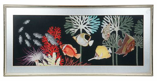 LARGE FRAMED EMBROIDERY, MID 20TH C.