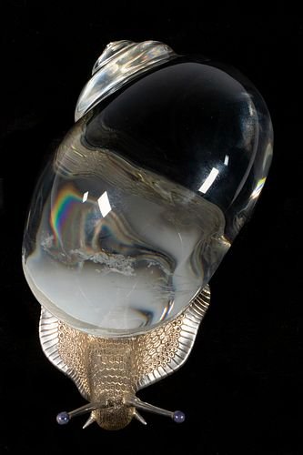 STEUBEN GLASS AND STERLING SILVER SNAIL SCULPTURE
