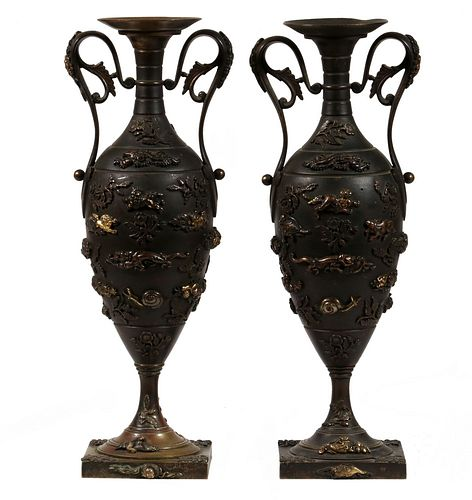 PR OF FRENCH 19TH C. JAPONISM MANTEL URNS SIGNED 'HEBE'