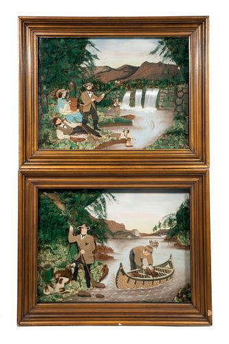 (2) LARGE 19TH C. FOLK ART DIORAMAS OF SPORTING IN THE WILDERNESS, AFTER CURRIER & IVES PRINTS, IN MATCHING SHADOWBOX FRAMES