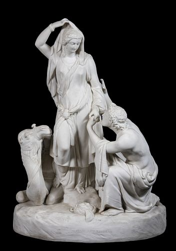 """WEDGWOOD ATTRIBUTED PARIAN WARE FIGURE OF """"ISAAC AND REBEKAH"""" BY WILLIAM BEATTIE (UK, CIRCA 1810-1870)"""