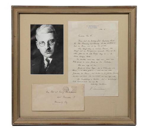 KURT VON SCHUSCHNIGG (1897-1977) CHANCELLOR OF AUSTRIA 1950 ALS LETTER, ENVELOPE AND PORTRAIT PHOTO IN ONE FRAME