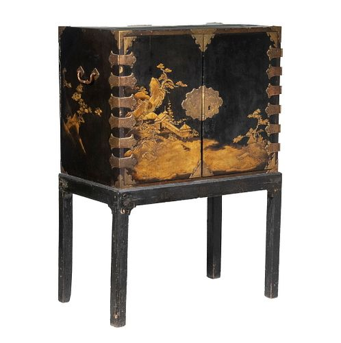 18TH C. JAPANESE LACQUERED CABINET ON ORIGINAL STAND