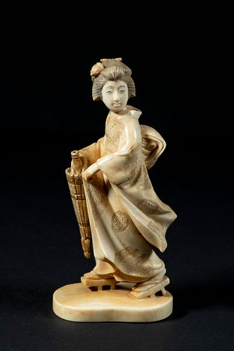 19TH C. JAPANESE IVORY CABINET FIGURE OF GEISHA WITH PARASOL, SIGNED