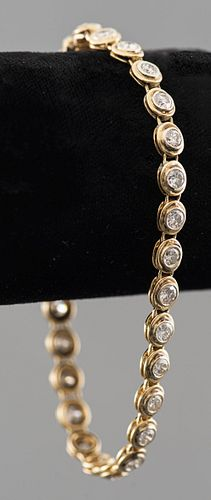 Vintage 14K Yellow Gold Diamond Tennis Bracelet
