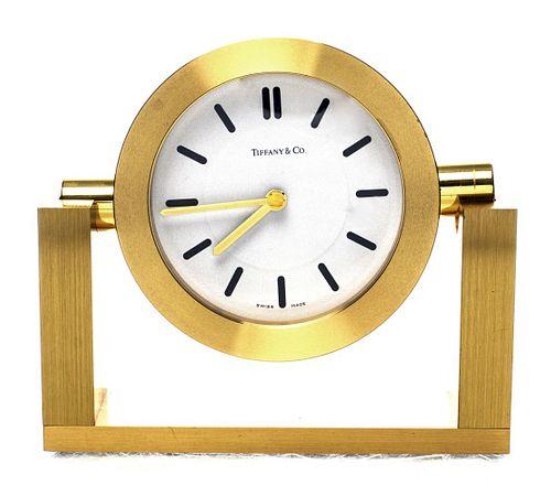 Tiffany & Co. Brushed Brass Desk Clock