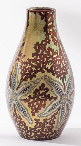 "Zsolnay Pecs Art Nouveau Pottery ""Starfish"" Vase"