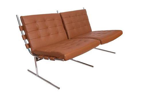 Jorge Zalszupin T Invertido Leather & Chrome Sofa