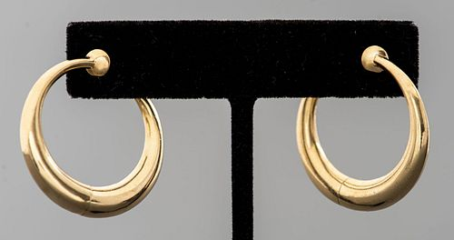 14K Yellow Gold Modernist Tapered Hoop Earrings
