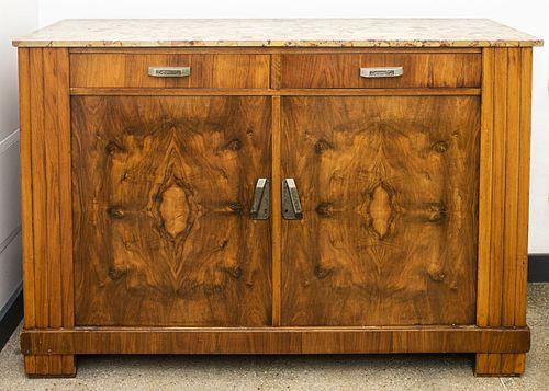 Art Deco Walnut Credenza Cabinet