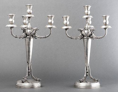 Early German Silver Candelabra, Pair