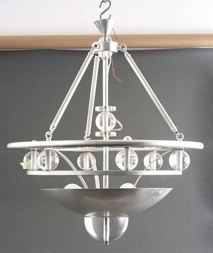 Machine Age Silver-Tone And Lucite Chandelier