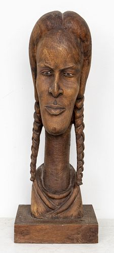Roger Francois Haitian Large Carved Wood Sculpture