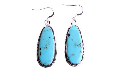 Navajo T. Lewis Sterling Silver Turquoise Earrings