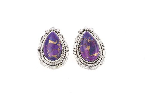 Navajo E. McCray Sterling Silver Sugilite Earrings