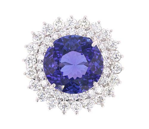 Opulent 13.17ct Tanzanite & Diamond 14k Gold Ring