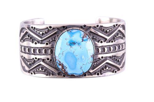 Navajo Sterling & Golden Hills Turquoise Bracelet