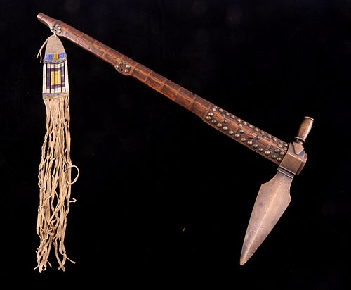 Sioux Brass Pipe Tomahawk w/ Quilled Drop c. 1870