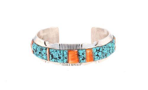 Navajo S. Francisco Silver Turquoise Bracelet