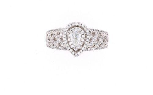 Opulent Pear Diamond & 18k White Gold Ring