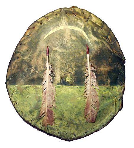 RARE Pawnee Painted War Shield 19th Century