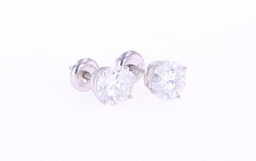 RARE 3.00 cts. Diamond Stud 18K Earrings