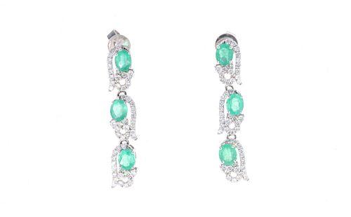 Emerald Diamond & 14k Ribbon White Gold Earrings