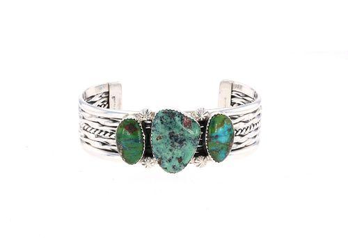 Navajo Tahe Sterling Silver Mohave Green Bracelet