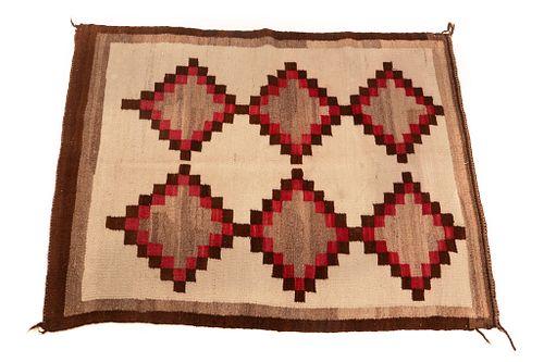 Navajo Two Grey Hills Hand Woven Rug c. 1940's
