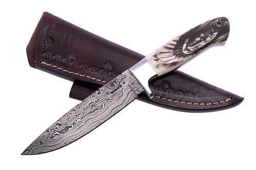 Montana Blackfeet Scrimshaw Damascus Knife Bozeman