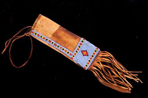 Plains Indians Beaded Hide Tobacco Pouch c. 1940's