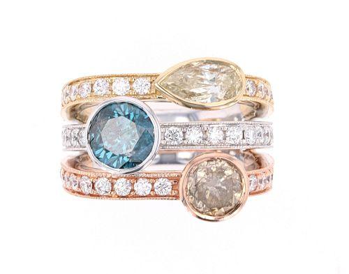 2.81ct Fancy Colored Diamond 14k Tri Color Ring