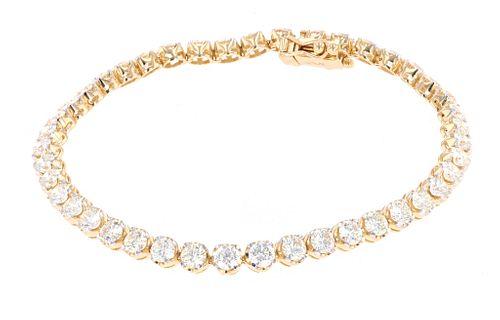 VVS-2 Diamond 18k Yellow Gold Tennis Bracelet