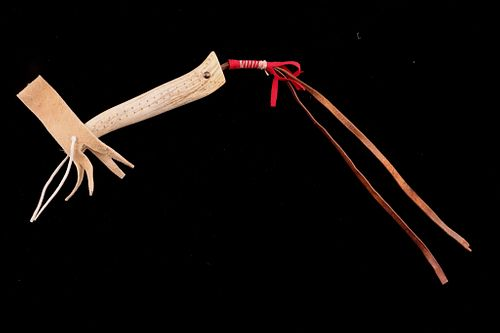 Blackfoot Elk Antler Tine and Leather Riding Quirt