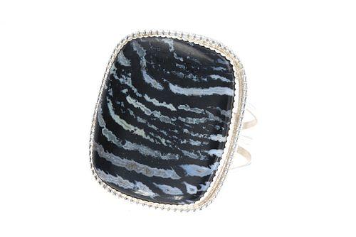 Navajo B. Begay Tsosie Silver Moss Agate Bracelet