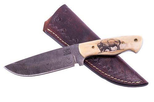 Yellowstone Buffalo Scrimshaw Damascus M.T. Knives
