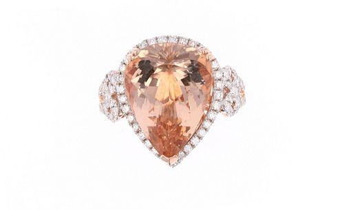 Natural Morganite Diamond & 14k Rose Gold Ring