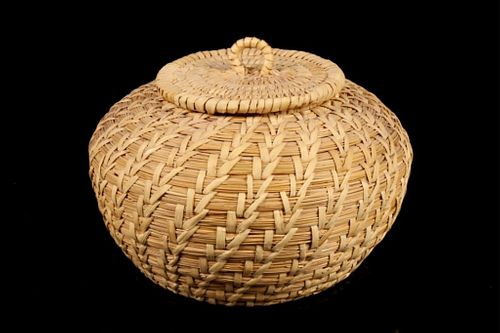 Papago Indian Hand Woven Coil Basket c. 1950's