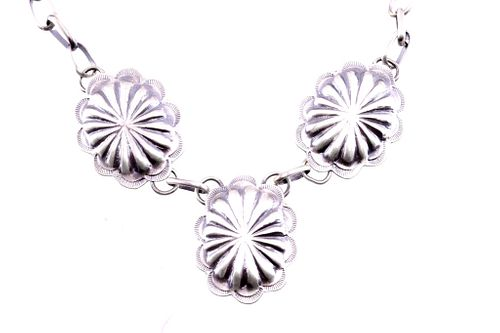 Navajo Sterling Silver Concho Pendant Necklace