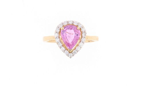 Pink Sapphire Diamond & 18k Yellow Gold Ring